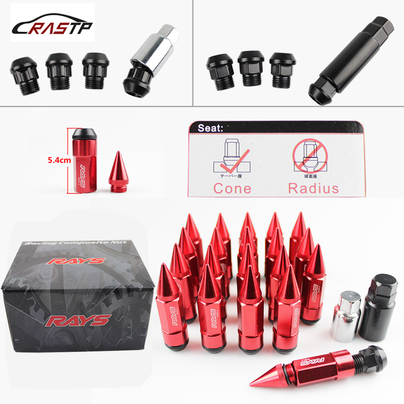 New Design VOLKS RAYS Racing Composite Nut Anti Theft Steel Head Alloy Aluminum Lock Wheel Lug Nut Bolt With Spikes RS LN038-in Nuts & Bolts from Automobiles & Motorcycles