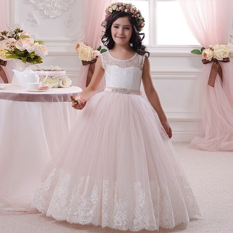 New 2016 Pink Sleeveless Lace Flower Girls Dresses For Weddings Ball Gown Appliques Sash Cheap Formal Kids Communion Gowns princess ball gown red lace flower girls dresses for weddings birthday communion kids stage performance