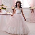 New 2016 Pink Sleeveless Lace Flower Girls Dresses For Weddings Ball Gown Appliques Sash Cheap Formal Kids Communion Gowns