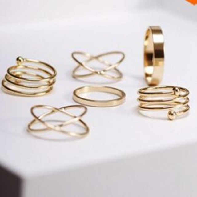 Foreign Trade Hot Alloy Korean Version Personality Ring Retro Tail Ring Ring 6 Sets Combination Joint Rings