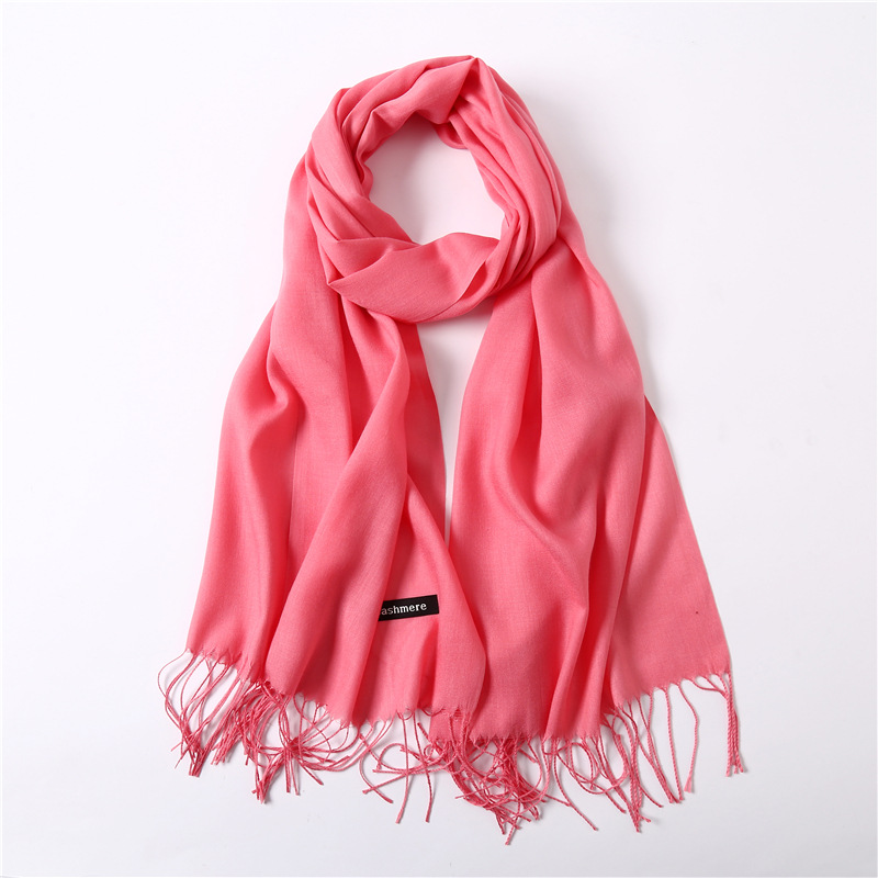 12colors faux Cashmere Scarf Women Warm Shawl Femme Pashmina Foulard Kerchief Stole Head Neck Long Scarf with tassel Ladies red in Women 39 s Scarves from Apparel Accessories