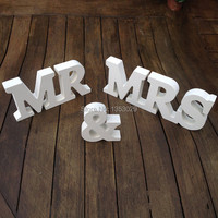 Free Shipping 2015 New Arrival Wedding Gift Mr Mrs Letters White Wood Mr Mrs Sign Wedding