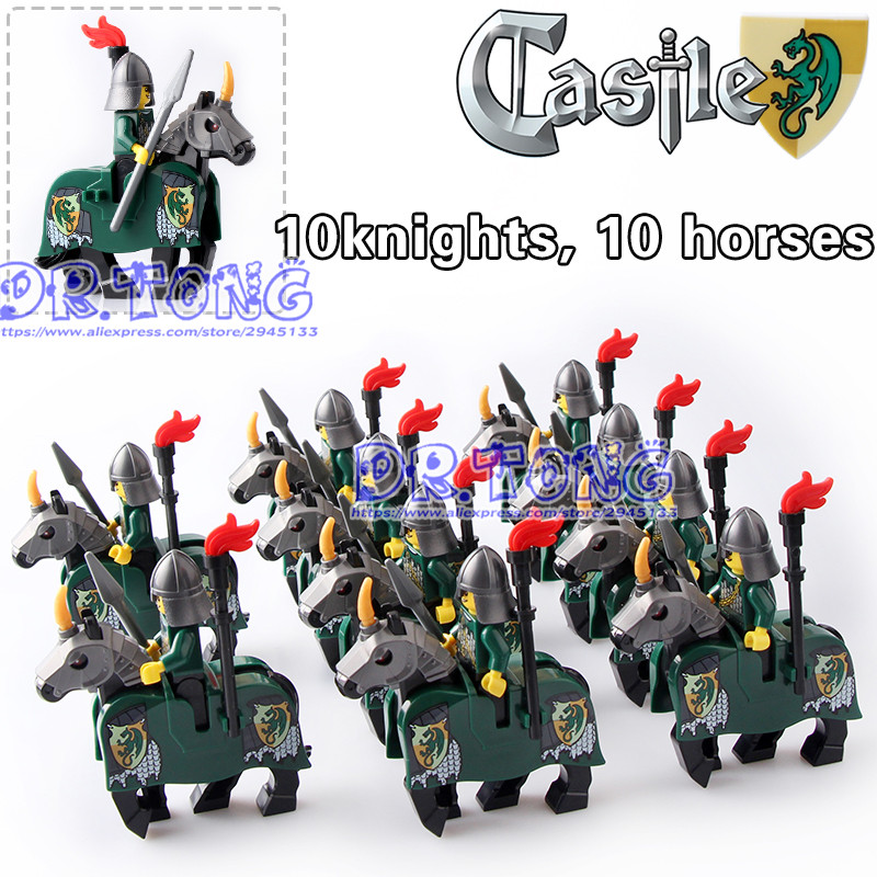 DR.TONG 20pcs/lot Knights War Green Horse Knights King with Heavy Armor Medieval Rome Knights Horse Building Blocks Toys X0158 1 leader 16pcs lot medieval knights xh645 crusader rome commander super hero building blocks toys children gifts x0164