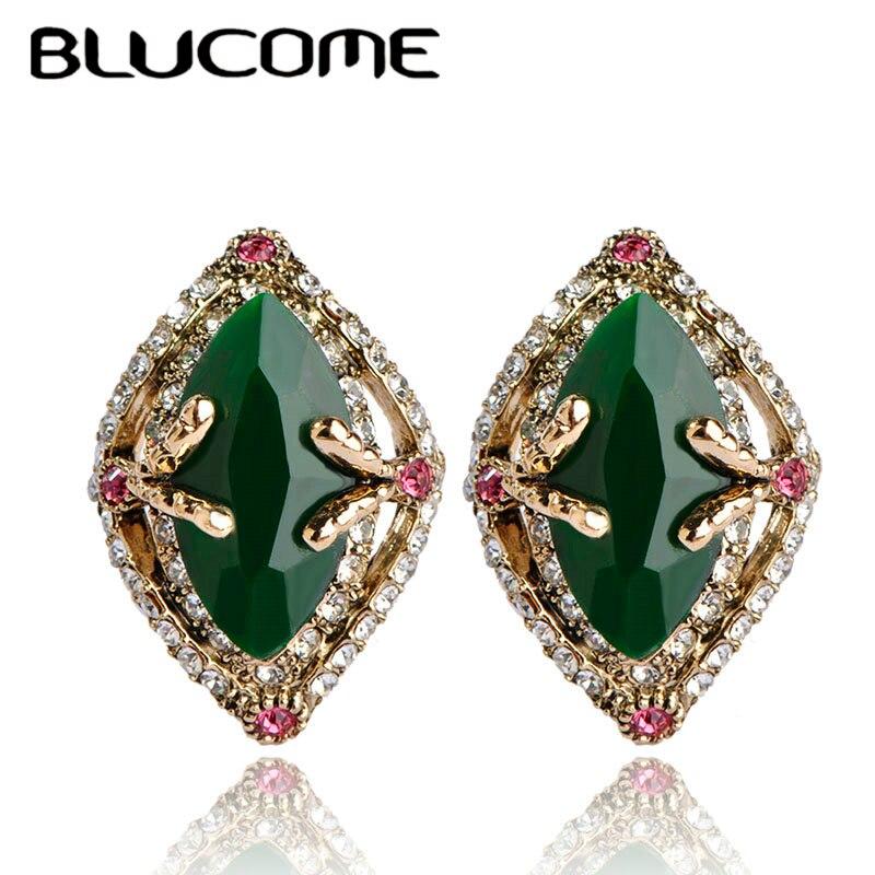 Женские серьги-пусеты Blucome, Винтажные серьги-пусеты зеленого цвета с австрийскими кристаллами, на крючках, из смолы, для свадебного платья