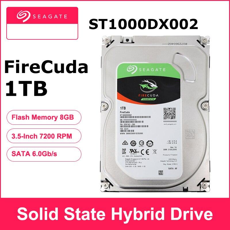 Seagate 1tb fire cuda «3.5 polegadas gaming sshd (unidade híbrida de estado sólido) 7200 rpm sata 6 gb/s cache 64mb hdd, disco rígido