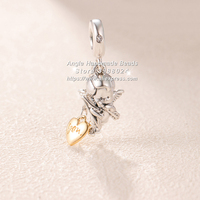 Fashion Jewelry Shine Two Tone Cupid & You Gold Overlay Sterling Silver Charms Beads Fit European Pandora Bracelet Pendant