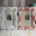 Rosa y Blanco Color de Rosa de Resina de Mesa Soporte de Mesa Decoración de la Boda Marco de Marco de Fotos de Regalo