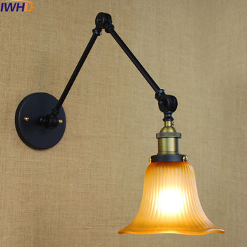 IWHD Vintage Glass Lampara Pared CreativeRetro Iron Loft Wall Lamp Black Bedroom Lighting Stairs Beside reading Light Fixture