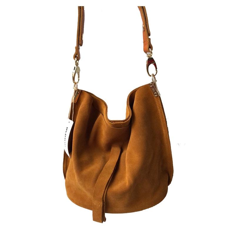 f1130af6b7ff9 Echt Leder Umhängetasche für Frauen Casual Einfache Trendy Nubuk Wildleder  Eimer Tasche Braun Wochenende Feminine Vintage