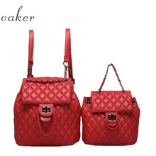 Caker Women Red Drawstring Backpack Diamond Lattice Leather Large Chain School Bags Teenagers 2018
