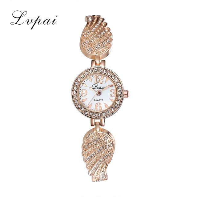 Lvpai Luxury Women Bracelet Watches Fashion Clock Women Stainless Steel Rhinesto
