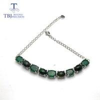 TBJ, новый дизайн браслет натуральный драгоценный камень изумруд матч черный опал 925 стерлингового серебра модные ювелирные изделия для леди