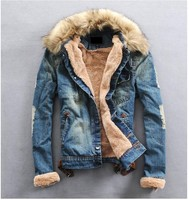 Free Shipping 2013 New Hot Jeans Men Winter Warm Fur Collar Wool Denim Jacket With Thick