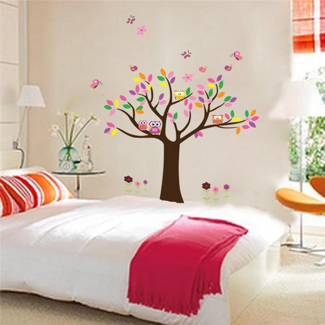 Captivating Colorful Tree Wall Stickers For Kids Room Decorations 5084. Children Baby  Gift Owls Adesivo De Paredes Home Decals Mural Art 4.0