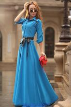 Bohemian Style Length Dresses Fashion Polo Collar Long Sleeve Dress Slim Elegant Single-breasted Belted Beach Dress High Quality