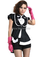Women's Sexy Short Sleeve Dress Coat Tails Uniform Outfit Cosplay Costumes S-XL