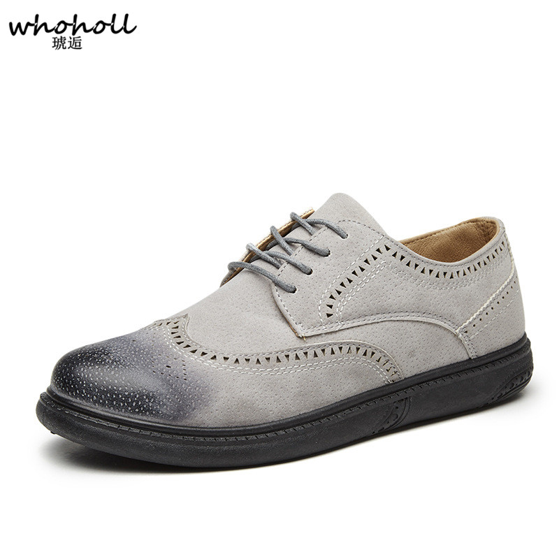 Men casual wingtip shoes brand   suede   genuine   leather   big size formal derby oxfords flat shoes tan brogues shoes zapatos hombre