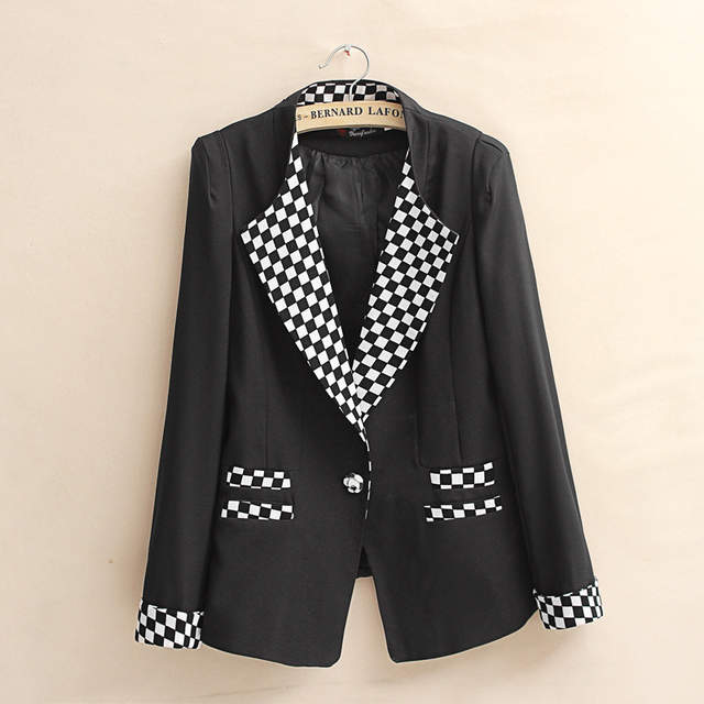 59cb2b2db827 placeholder Candy jacket White Black Yellow Fashion New Slim Ladies Womens  One Button Suit Coat Blazer Jacket