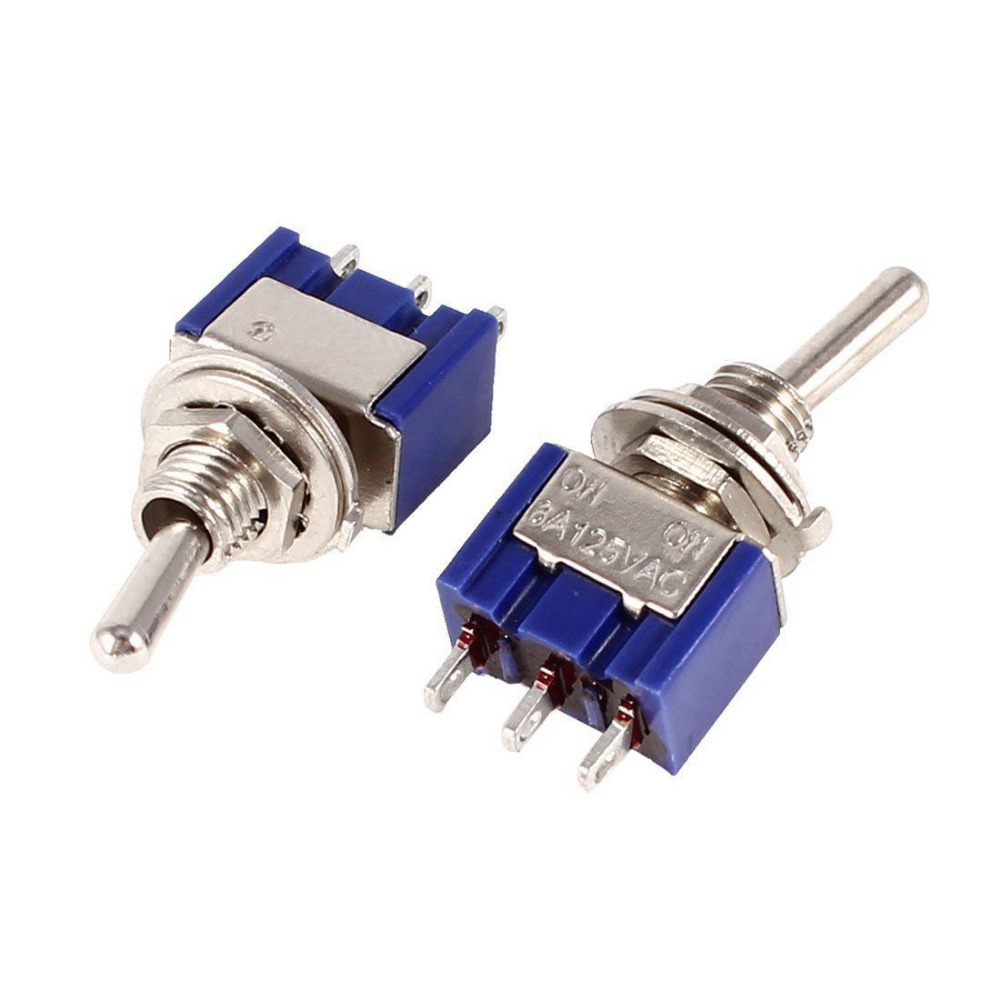 Blue SPDT Red 3 Pin ON-ON Mini Toggle Switch AC 6A/125V VE519