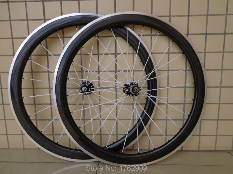 1pair New 700C 50mm clincher rim road bicycle 3K carbon bike wheelsets with alloy brake surface aero spoke skewers Free shipping bicycle bike aluminum alloy quick release skewers red pair