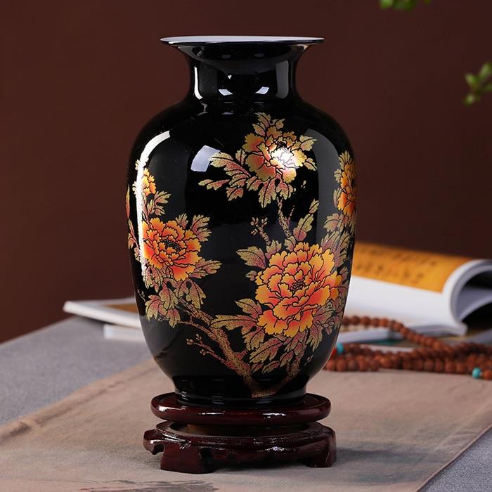 Nouveau Style Chinois Vase Jingdezhen Porcelaine Noire Cristal Glaçure Vase Décor À La Main Brillant Famille Rose Vases