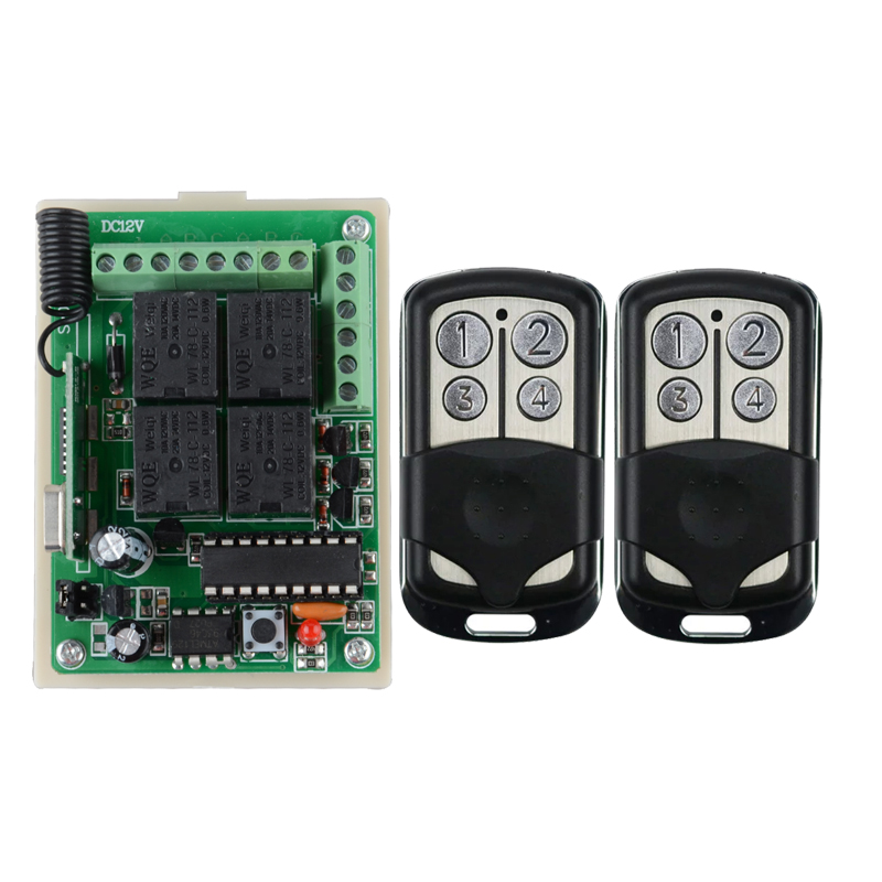 DC 12V 10A 4 CH Receiver & Transmitter Wireless Remote Control Switch Syatem Momentary Toggle Adjustable 315mhz 433mhz
