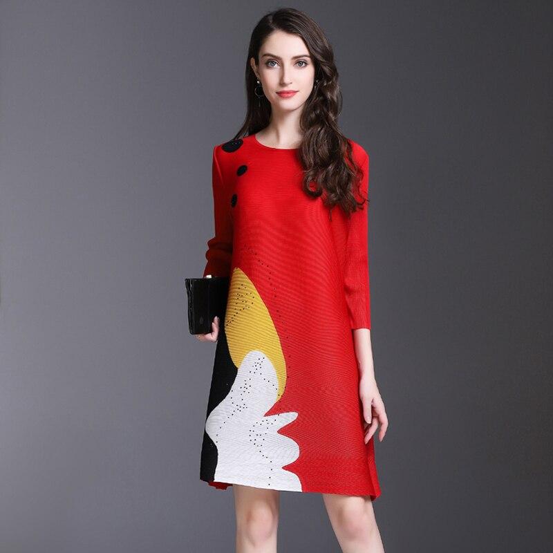 Miyake piega del vestito della molla delle donne nuovo stampato a pieghe vestito lungo di stile nazionale di trasporto libero - 4