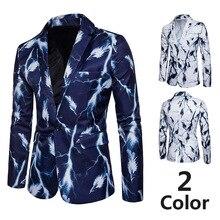 Осенне-зимние мужские тонкие костюмы на одной пуговице повседневные мужской модный блейзер куртки высокого качества блейзеры с принтом новые мужские пальто одежда