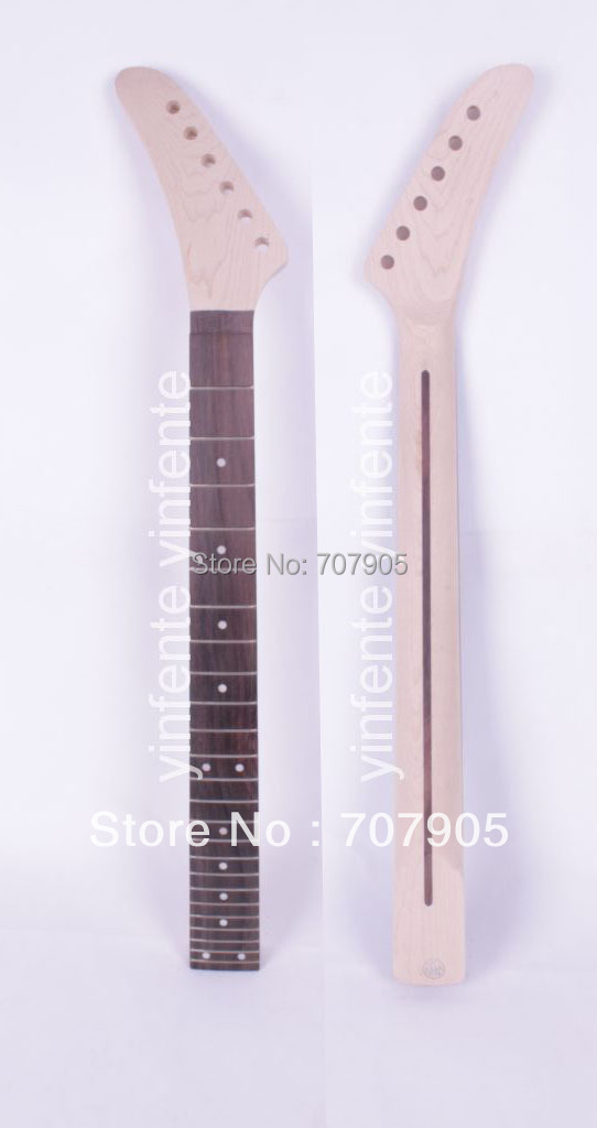 1x Unfinished electric guitar neck Maple Wood Rosewood Truss Rod 24 fret 25.5 Free shipping Dropshipping Wholesale kmise chrome plated metal truss rod cover for electric guitar replacement pack of 50
