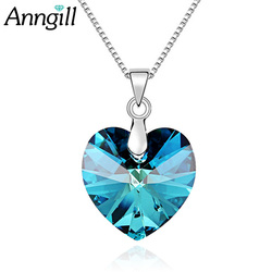 ANNGILL Romantic 100% Crystals From Swarovski Love eart Pendant Necklaces Boho Choker Necklaces & Pendants for Women Dropshiping