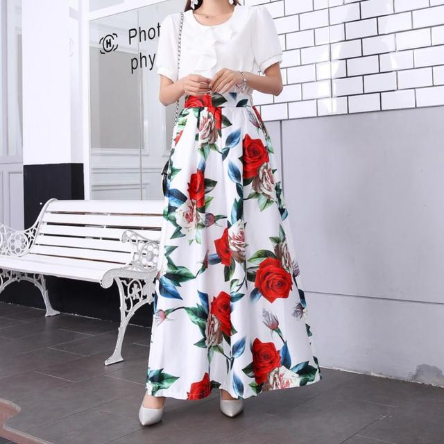 Plus size Maxi Skirt Summer Fashion Vintage High Street A-line High Waist Floral Polka Dot Long Skirts for Women 2020 Jupe Longa 22