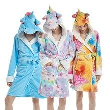 Volwassenen Animal Flanel Badjas Nachtkleding Vrouwen Mannen Paar Badjas Dikke Warme Gewaad Winter Unisex Panda Eenhoorn Pluche Pyjama