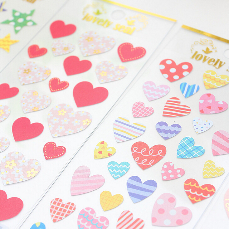Colorful Heart Shaped Adhesive Stickers Scrapbooking DIY Decoration Stickers Mobile Phone Stickers alive for all the things are nice stickers adhesive stickers diy decoration stickers