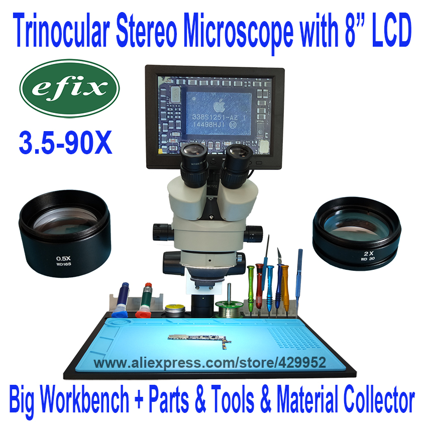 цена на eifx 3.5~90X Trinocular Stereo Zoom Vertical Zoom Microscope for iPhone Fix Repair Tools Kits + 8 Inch LCD+ Big Operation Plate