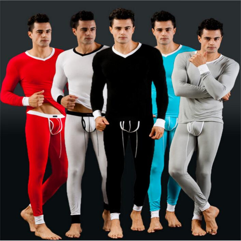 2016 Winter Warm men Long John Set Black&White Mens Modal Thermal Underwear penis pouch Pajamas Sleepwear Tops +pants