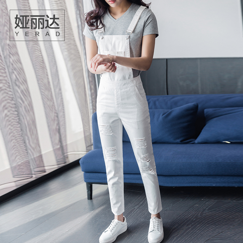 5af1cb871ea YERAD Women White Ripped Jeans Jumpsuit Romper Fashion Denim Suspender Pants  Ankle Length Pencil Pants Overalls-in Jumpsuits from Women s Clothing on ...