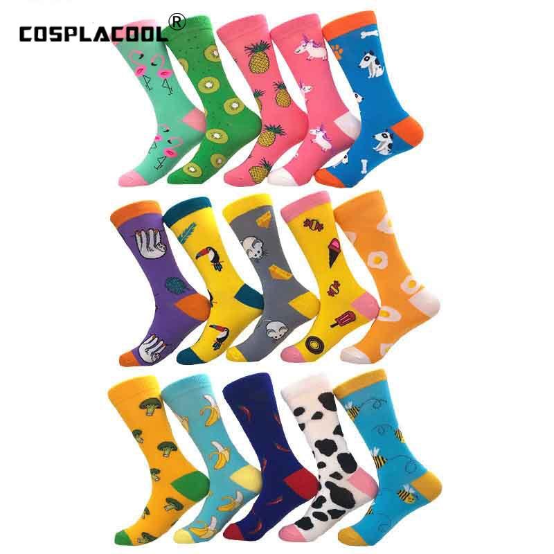 [COSPLACOOL]Cool Mens Socks Women Animal Banana/Pineapple/Egg Novelty Sokken Combed Cotton Funny Socks Men's Big Size Crew Socks