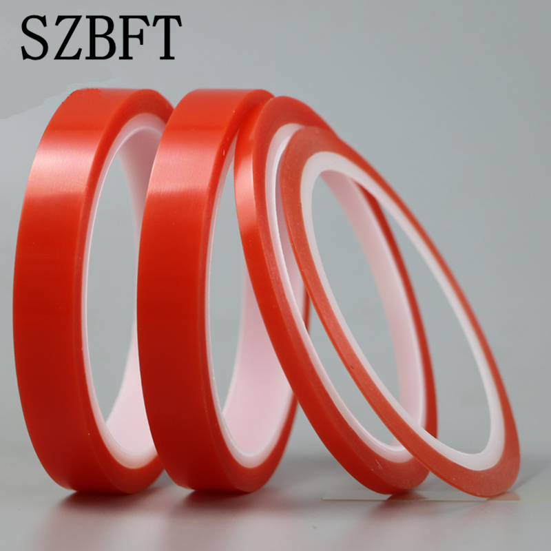 SZBFT 2rolls 1mm~5mm*5M Strong pet Adhesive PET Red Film Clear Double Sided Tape No Trace for Phone LCD Screen free shipping szbft 1mm black brand new 3m sticker double side adhesive tape fix for cellphone touch screen lcd free shipping