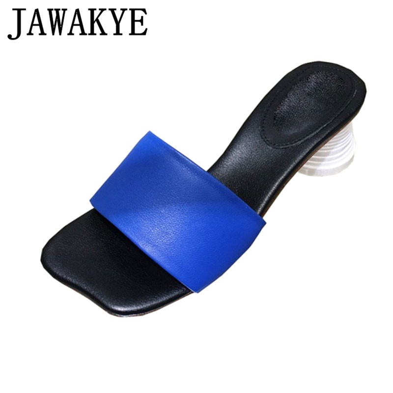Summer Cup Heel Slippers Women candy color Genuine Leather Flip Flops Women Fashion Runway Mules Shoes