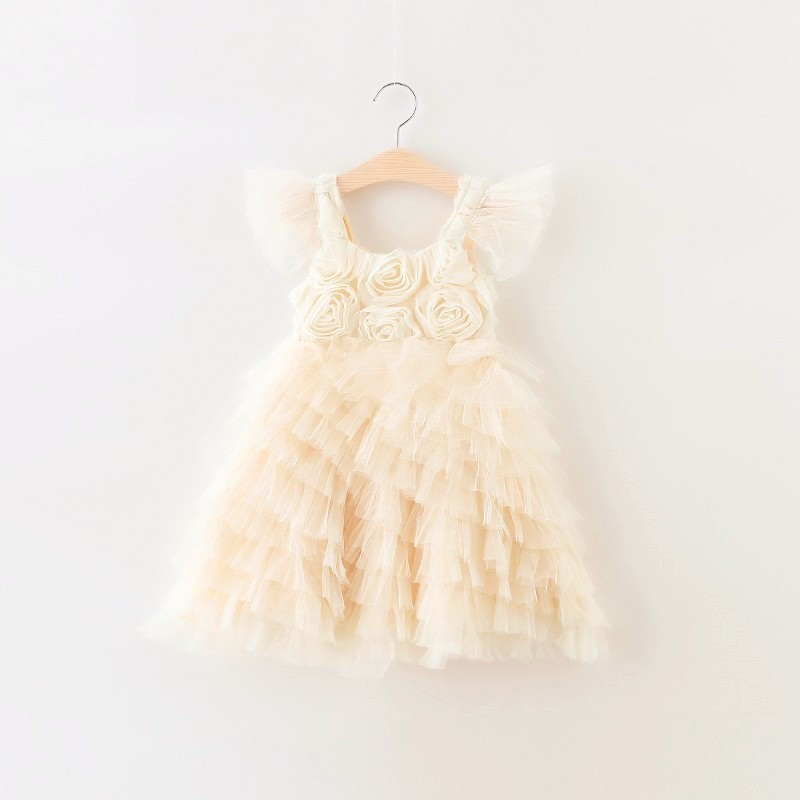 Retail 2018 Girls summer flowers dress , princess dress , Birthday party dress, wedding dress,FCL08 dress gina bacconi dress