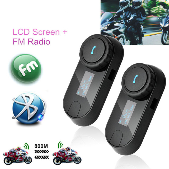 2 Pcs New Version TCOM-SC 800M BT Bluetooth Motorcycle Helmet Intercom Headphones Interphone Headset with LCD screen + FM Radio
