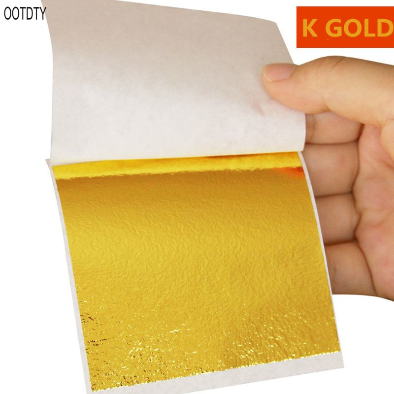 10 Pcs Imitation Gold Leaf Foil Art Craft Paper Gilding Sliver Copper DIY Slime Crafting Decoration Modeling Clay/Slime