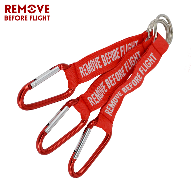 Remove Before Flight Key Chain Red Keychain Woven Letter