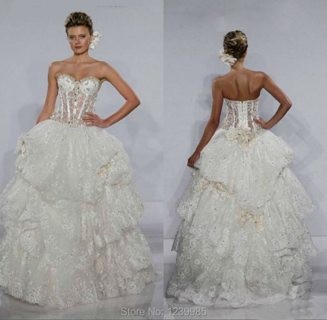 fashion 2016 custom made bridal gown sweetheart beaded lace bones
