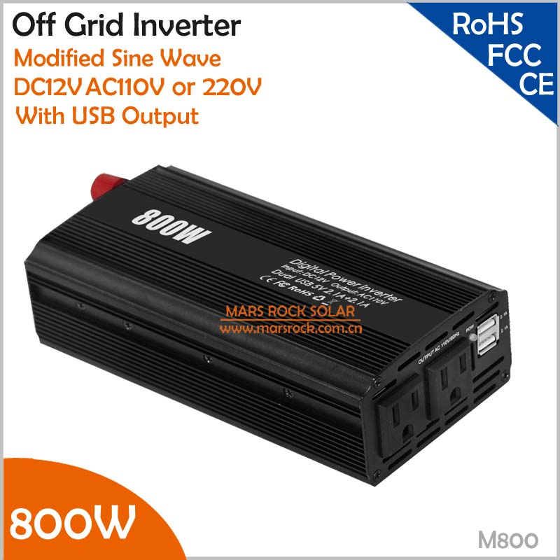 12V DC to AC 110V 800W Car Inverter with USB Output Off Grid Inverter automobile power converter for US market solar power on grid tie mini 300w inverter with mppt funciton dc 10 8 30v input to ac output no extra shipping fee