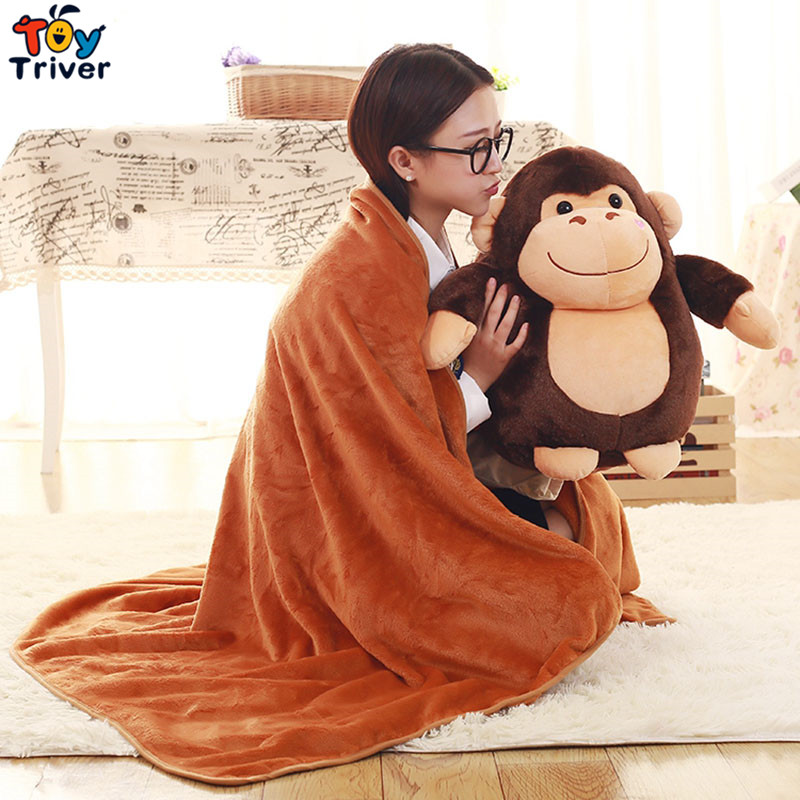 Plush Monkey Gorillas Chimpanzees Portable Blanket Cushion Hand Warmer Stuffed Toy Doll Baby Kids Birthday Shower Gift Triver stuffed animal 44 cm plush standing cow toy simulation dairy cattle doll great gift w501