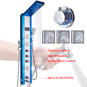 Image 3 - ULGKSD LED פנל מקלחת גשם מפל מקלחת טמפרטורת מסך עיסוי ספא W/בידה Jet ארבעה ידיות מיקסר ברז כיור ברז סט