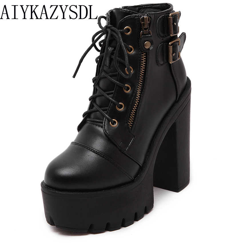 3fc6922ac7a AIYKAZYSDL 2018 Autumn Gothic Platform Shoes Women Gladiator Buckle Strap  Ankle Boots Block Chunky Ultra Very