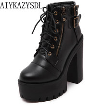 0c3611c606d AIYKAZYSDL 2018 Autumn Gothic Platform Shoes Women Gladiator Buckle Strap  Ankle Boots Block Chunky Ultra Very High Heels Creeper