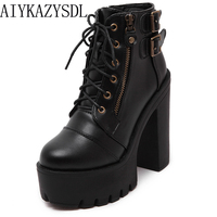 AIYKAZYSDL 2018 Autumn Gothic Platform Shoes Women Gladiator Buckle Strap Ankle Boots Block Chunky Ultra Very High Heels Creeper